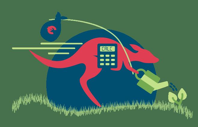 Samenvatting van de Smart Kanga Calculator van Kangaroo met een snelle kangaroo, een gieter voor het mileu en een zak met geld om te besparen
